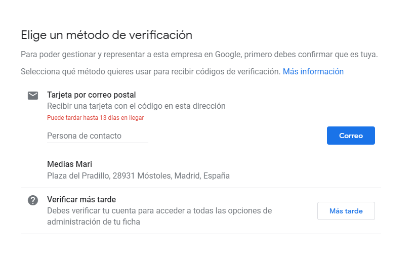 Verificación de Google My Business